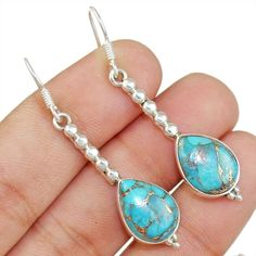 Copper Turquoise 925 Sterling Silver Earring Allison Co Jewelry E-3510 #Allisonsilverco