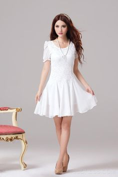 Delicate Slim Short Sleeves Lace Dress Casual Dresses - ericdress.com 10916425