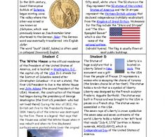 This worksheet is for pre-intermediate students. In the first part - there are 4 texts about the US most famous symbols (about dollar, the flag, the White House and the Statue of Liberty) Fi
