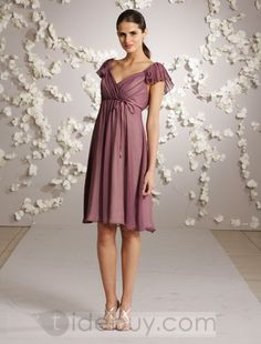 Perfect Empire Waist V-Neck Capped Knee-Length Bridesmaid Dresses http://www.tidebuy.com/product/Perfect-Empire-Waist-V-Neck-Capped-Knee-Length-Bridesmaid-Dresses-292024.html#