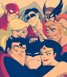 The Flash / Plastic Man / Hawkgirl / Black Canary / Aquaman / Superman / Batman / Wonder Woman Nightwing, Batwoman, Hawkgirl, Marvel Dc Comics, Bd Comics, Batman E Superman, Spiderman, Batman Love, Batman Wonder Woman