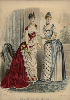 Revue de la Mode, dated May 1880s Fashion, Edwardian Fashion, Vintage Fashion, Vintage Dresses, Vintage Outfits, Victorian Costume, Victorian Era, 19th Century Fashion, Mode Vintage