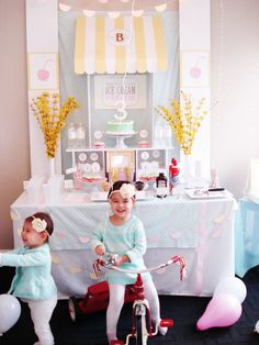 Pin for Later: This Ice Cream Parlor Birthday Will Melt Your Heart 3rd Birthday Party For Girls, Third Birthday, Birthday Bash, Birthday Celebration, Birthday Invitations, Love Ice Cream, Ice Cream Parlor, Sundae Bar, Metallic Balloons