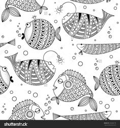 stock-vector-black-white-seamless-pattern-with-funny-fish-abstract-vector-do … – funny wallpapers Madhubani Art, Madhubani Painting, Embroidery Art, Embroidery Patterns, Funny Embroidery, Coloring Books, Coloring Pages, Art Picasso, Book Wallpaper