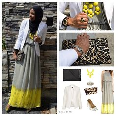 Classic: Chevron maxi dress + crisp white blazer. Photo: Blogger @Shelly Coverdale Up Chic. Fashion Fighting Famine #Eidstyle