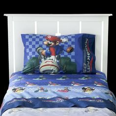 "Mario Sheets Set - Twin by Unknown. $41.99. Fits Mattresses: Up to 10"" Deep. Weave Type: Microfiber. Care and Cleaning: Machine Wash Cold, Only Non-Chlorine Bleach, Tumble Dry Low, Remove Promptly. Includes: 1 Fitted Sheet, 1 Flat Sheet, 1 Pillowcase. Number of Pieces: 3. Thread Count: 132. Fiber Content: 100 % Polyester. If there's a video gamer in your house, this Mario sheets set with pillowcase, fitted sheet, and flat sheet could be a welcome addition to t..."