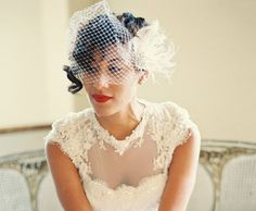 Beautiful ivory wedding bridal fascinator and French net bandeau bridal veil by Designer Kathy Johnson. The ivory French net bridal veil is so popular and easy to wear. By wedding designer, Kathy Johnson\. Wedding Hair Fascinator, Fascinator Hairstyles, Wedding Hair Clips, Wedding Hair Pieces, Bridal Headpieces, Bridal Comb, Bridal Hair, Bridal Makeup, Feather Hair Clips