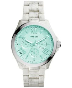 The bright white of this horn acetate Cecile watch by Fossil is outshined only by its multifunction design. | Horn acetate bracelet | Round case, 40mm, with silver-tone bezel | Green tinted crystal mu