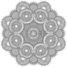 mandala: Circle lace black and white ornament, round ornamental geometric doily pattern