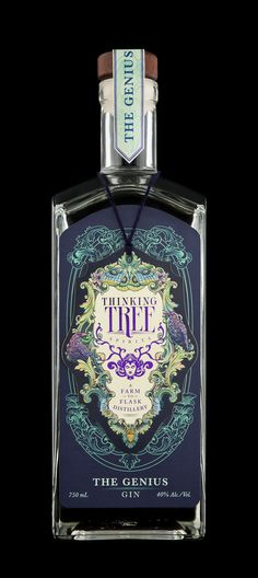 Farm to flask. Thinking Tree Spirits, Eugene OR. Most beautiful bottle I've … Farm to flask. Thinking Tree Spirits, Eugene OR. Most beautiful bottle I've ever seen. Mezcal Cocktails, Alcohol Bottles, Liquor Bottles, Beverage Packaging, Bottle Packaging, Bottle Labels, Label Design, Packaging Design, Branding Design