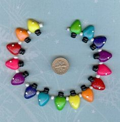 Christmas Lights Set Polymer Clay Beads and Bow Centers, Jewelry, Charm, Pendant, Hai Bow Center. $9.99, via Etsy.