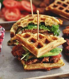 Fried Chicken and Waffle Sandwiches Recipe - RecipeChart.com #Delicious #Delish #SoGood