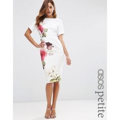 ASOS PETITE Wiggle Dress with Rose Placement Print ($78) ❤ liked on Polyvore featuring dresses, multi, petite, pattern dress, rose dress, white print dress, slim fit dress and zipper dress