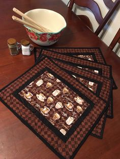 Excited to share this item from my shop: Coffee Placemats Coffee Lovers Qu - Coffee Set - Ideas of Coffee Set - Excited to share this item from my shop: Coffee Placemats Coffee Lovers Quilted set of 2 Quilted Placemat Patterns, Mug Rug Patterns, Fabric Placemats, Table Runner And Placemats, Table Runner Pattern, Quilted Table Runners, Quilt Patterns, Colchas Quilt, Scraps Quilt