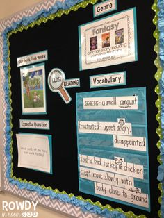 Close Reading Bulletin Board - Rowdy in Room 300 Shrink down the elements and use on the magnetic easel? Reading Resources, Reading Activities, Teaching Reading, Classroom Activities, Classroom Organization, Guided Reading, Teaching Ideas, Reading Bulletin Boards, Reading Boards