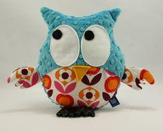 Little Sophie plush owl #littlesophie #owl #plushowl #flowers #teal #minky
