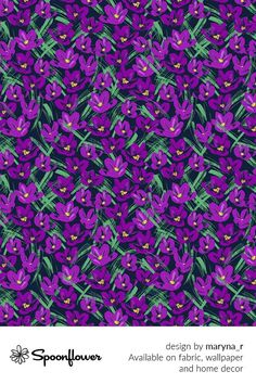 Customize your own home decor, #wallpaper and #fabric at Spoonflower. Shop your favorite indie designs on #fabric, #wallpaper and home decor products on Spoonflower, all printed with #eco-friendly inks and handmade in the United States. #patterndesign #textildesign #pattern #digitalprinting #homedecor #Crocuses #purple Cute Pattern, Pattern Design, Cartoon People, Text Me, Fabric Wallpaper, Floral Designs, Own Home, Flower Prints, Watercolor Flowers