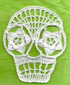 Blanca  Day Of The Dead Or Halloween Crochet Skull Appliques Calaveras Number 42. $5.00, via Etsy.