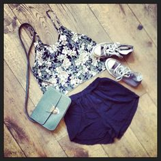Brandy melville outfit-dark floral crop tank,black shorts,brown converse,grey clutch.