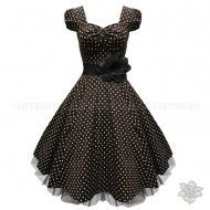 LaFrock's Black 'n' White polka Vintage Skater skirt 1950'S Evening Prom Dress