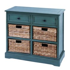Wood storage cabinet in blue with two drawers and four wicker baskets. Product: CabinetConstruction Material: Wood and wickerColor: BlueFeatures: Four wicker baskets includedTwo drawersDimensions: 28 H x 30 W x 13 D Cleaning and Care: Wipe clean with damp cloth        For the foyer...