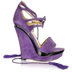 Rachel Zoe Kayne - Purple Suede Wedge (345 AUD) ❤ liked on Polyvore featuring shoes, sandals, wedges, heels, purple, fringe sandals, ankle strap sandals, fringe heel sandals, wedge sandals and suede lace up sandals