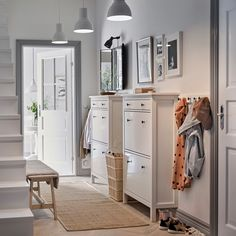 Picturesque Design Entryway Furniture Ikea Hallway Ideas IKEA A White With Two Traditional HEMNES Shoe Cabinets Side By And Row Storage entryway furniture ikea. storage at ideas Tema Design Site Ikea Hallway, Hallway Shoe Storage, White Hallway, Hallway Furniture, Hallway Ideas, Ikea Storage, Pictures In Hallway, Coat Hooks Hallway, Ikea Entryway