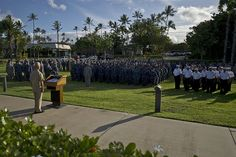 """Service members and civilian first responders gather near the """"Missing Man Memorial"""" at Joint Base Pearl Harbor-Hickam, Hawaii for a Patriots Day ceremony to commemorate the 11th anniversary of the 9/11 terrorist attacks at the World Trade Center, Pentagon, and Flight 93. Sept. 11, 2012.  (Department of Defense photo by U.S. Air Force Tech. Sgt. Michael R. Holzworth/Released)"""