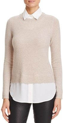 Shop Now - >  https://api.shopstyle.com/action/apiVisitRetailer?id=535141983&pid=uid6996-25233114-59 C by Bloomingdale's Layered-Look Waffle Knit Cashmere Sweater  ...
