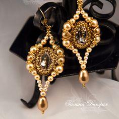 Rivoli/pearl earrings