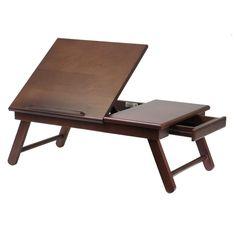 Lap Desk Wood Workstation Portable Fold Flat Fliptop Foldable With Drawer