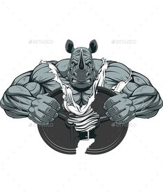 Strong Rhinoceros by Vector graphics Install any size without loss of quality. ZIP archive contains: -file -file JPEG; Rhino Tattoo, Gorilla Tattoo, Bodybuilding Logo, Illustrations Vintage, Vintage Logo, Owl Logo, Air Brush Painting, Photo Logo, Rhinoceros