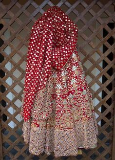 Bridal Lehengas - Beautiful Red Lehenga with Tribal embroidery and mirror work | WedMeGood #wedmegood #bridal #Lehengas