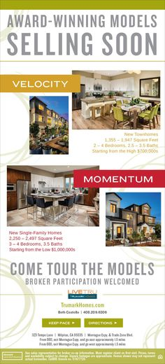Pace Models Releasing for Sale Soon – Tour Today  Beautiful Homes in Milpitas CA  Velocity: http://trumarkhomes.com/northern-california/velocity-at-pace/ Momentum: http://trumarkhomes.com/northern-california/momentum-at-pace/