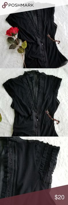 Weston Wear Sexy Sheer Top V-neck, button down, sheer, stretch, cap sleeve, sexy top.  Says Large, true fit Small and Medium. Excellent condition. Weston Wear Tops