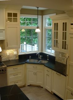 New Kitchen Corner Sink Layout Open Cabinets Ideas Corner Sink Kitchen, Kitchen Sink Design, Kitchen Cabinet Layout, Kitchen Redo, New Kitchen, Kitchen Remodel, Kitchen Cabinets, Kitchens With Corner Sinks, Kitchen Ideas