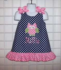 Navy Blue Polka Dot OWL Applique Mongrammed Dress with Pink Dot Ruffle - Owl birthday party dress - Baby Girl Dress Patterns, Little Dresses, Little Girl Dresses, Girls Dresses, Summer Dresses, Toddler Dress, Baby Dress, Doll Clothes, Kids Outfits
