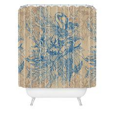 $90 Geronimo Studio Blue Amazonia Shower Curtain | DENY Designs Home Accessories