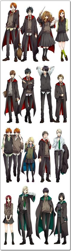 If Harry Potter were to turn into an anime series. This illustration is by Nakagawa Besu. Me: If Harry Potter turned into an anime they'd be TOO hawt! Manga Anime, Manga Tv, Anime Yugioh, Tv Anime, Anime Body, Anime Pokemon, Anime Plus, Harry Potter Anime, Art Harry Potter