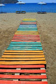 nice color scheme - great for backyard boardwalk (Gournas Beach. Leros Island, Greece)