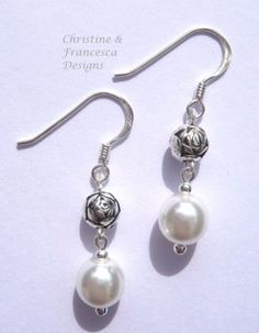 <3 Choice of 4 colours to choose from ♥ Colour shown is WHITE and Rose Bead <3 .925 Sterling Silver Glass Pearl and Rose Bead Drop Dangle Hook Earrings + Gift Box & Organza Gift Bag ~ by Christine & Francesca Designs