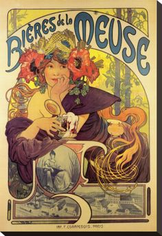 Image detail for -Bieres de la Meuse by Alphonse Mucha - Vintage Beer Poster Art Nouveau. I have this hanging in my kitchen, I absolutely love it! Beer Poster, Poster Art, Kunst Poster, Print Poster, Mucha Art Nouveau, Alphonse Mucha Art, Art Nouveau Poster, Old Posters, Vintage Posters