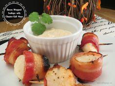 Bacon Wrapped Scallops with Cilantro-Chili Mayo