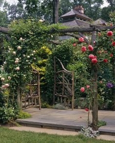 climbing roses and pergola, elevated pathway