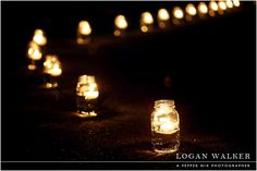 Mason jars with floating candles line the pathway to the backyard reception. Hessian Bunting, Prom Flowers, Outside Living, Floating Candles, Wedding Wishes, Dream Wedding, Wedding Stuff, Deco, Wedding Reception
