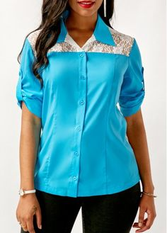 Blue Roll Tab Sleeve Lace Panel Button Up Shirt on sale only US$33.00 now, buy cheap Blue Roll Tab Sleeve Lace Panel Button Up Shirt at liligal.com