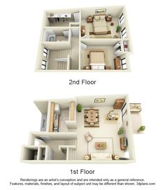 ★ 2 Bedroom Townhouse, Style D 1.5 Bathrooms 1100 Square Feet $1070 Price