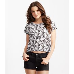 Aeropostale Burnout Hummingbird Boxy Crop Top ($10) ❤ liked on Polyvore featuring tops, bleach, aéropostale, crop top, sport top, boxy crop top and burnout tops