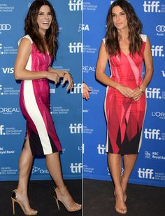 Sandra Bullock in a Roland Mouret sheath dress that I absolutely love. She wore it to the 'Gravity' premier at the Toronto Film Festival.
