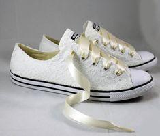 58b959b06196 Ivory Lace Wedding Converse -Ivory Lace Bridal Converses --Ivory ...